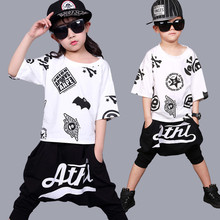 Children jazz dance costumes DJ virgin Haren pants hip-hop performance training set wholesale недорого