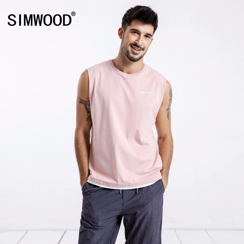 Simwood 2018 Summer Vest Men Sleeveless O-Neck Slim   Tank     Top   Casual Letter Print Thin Tees 100% Pure Cotton Free Shipping 180345