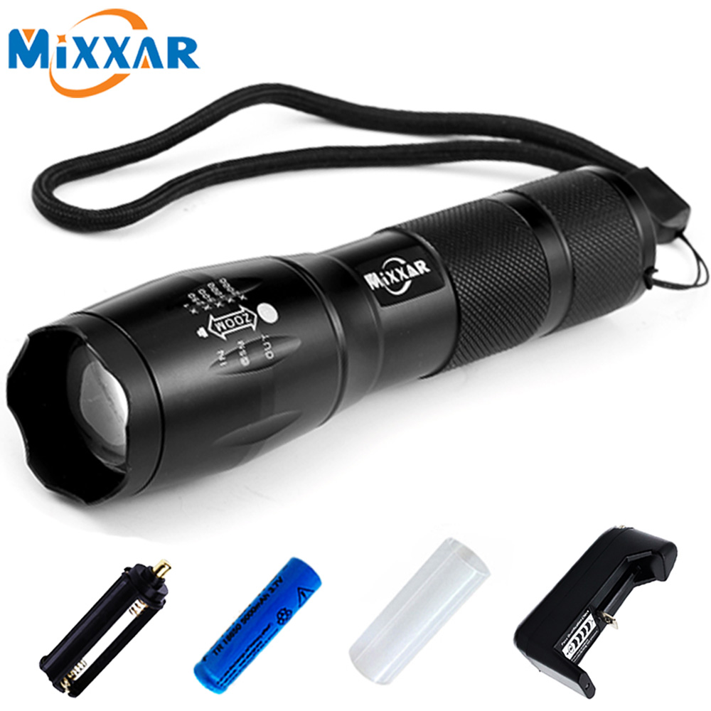 CREE XML-T6 5 Mode Zoomable Waterproof Flashlights 4000LM LED Flashlight 18650 Torch LED Light with Charger Battery for Camping rechargeable l2 led flashlight zoomable cree xml torch portable 5 mode lamp waterproof lanterna 18650 battery and charger