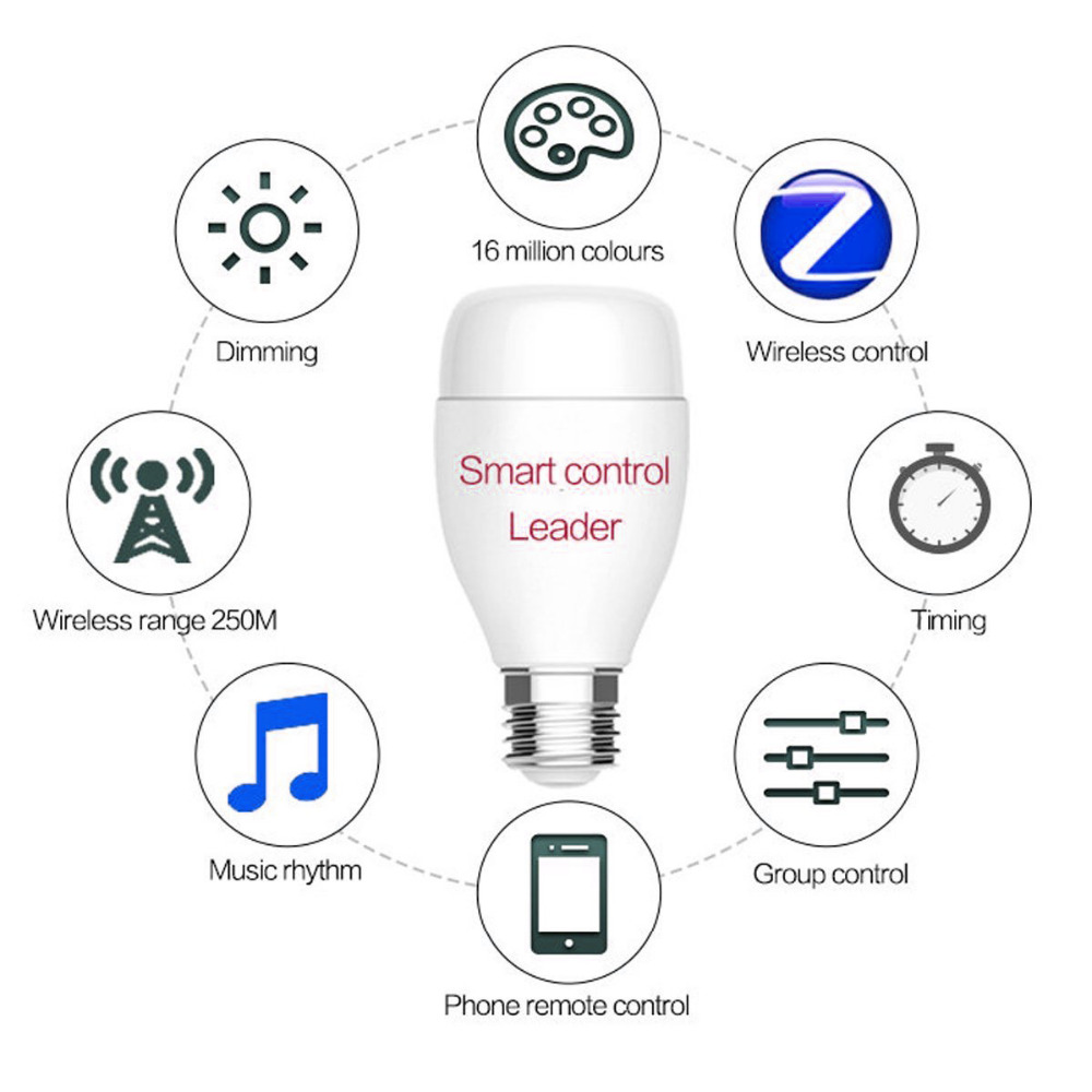 oobest E27 Smart WiFi LED Light Bulb 6W RGB 16 Million Color For Alexa Voice Control For Android IOS RGB Light Bulb Wireless magic 7w e27 wifi rgbw led light bulb smart wireless remote control le lamp color change dimmable for home hotel ios android