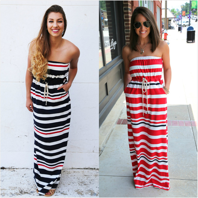 07f2b61738f0 New summer lace dress 2017 sleeveless backless strapless sex long striped  dress women pocket vestidos plus size