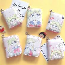 Nowy przyjazd Sailor Moon Short style portmonetka dziewczyny portfel PU skóra z karty slot dla studentów kobiet portfel skórzane sprzęgła torby tanie tanio Czarodziejski księżyc Standard Wallets Skóra PU 11 cm 8 5 cm Kieszeń na monety komora wewnętrzna uchwyt na zdjęcia schowek na telefon komórkowy kieszeń na zamek błyskawiczny uchwyt na kartę