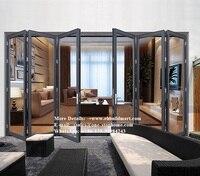 Aluminium Heavy Folding Door Sound Proof for Villa House Hotel Building Project,Wooden Color Safety Glass Aluminum Folding Door