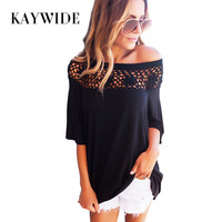 KAYWIDE 2017 Summer Women Tops Series Autumn Lace Patchwork Tees Solid T Shirts Half Sleeve Knitted