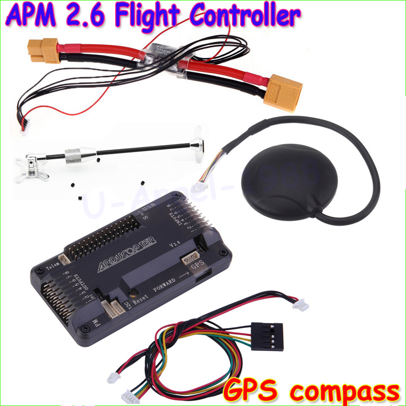 ArduPilot Mega APM2.6 Flight Controller Board Internal Compass With Ublox NEO-6M GPS RC Airplane Part Wholeslae ublox neo 6m gps module mini apm pro flight controller board power module xt60 plug for rc quadcopter helicopter airplane