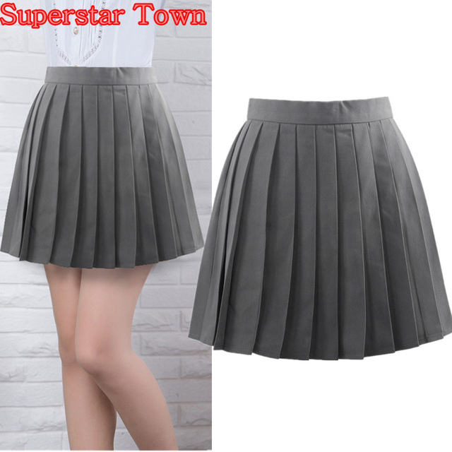 a44951cd27 Grey Pleated Skirts Summer Female Pleated Skirt Japan School Uniform  Harajuku Women Skirts Saias Faldas