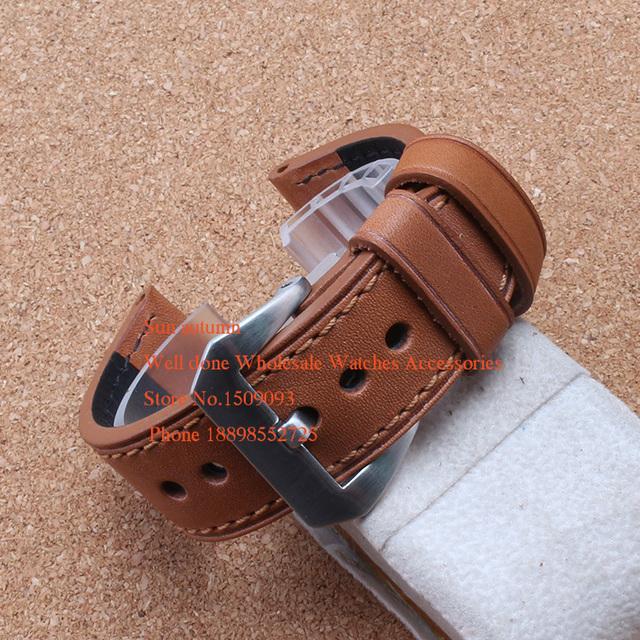 De Cuero de vaca suave Luz Marrón Correa de reloj de 24mm (hebilla 24mm) correas de reloj de los hombres para pam111 clásico estilo de lujo promoción