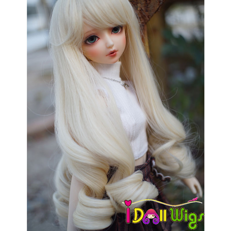 heat resistant synthetic baby born doll hair accessories beautiful light blonde Long loose wavy hair 1/3 1/4 1/6 BJD doll wigs 1 8 1 6 1 4 1 3 uncle bjd sd dd doll accessories wigs gold long straight hair