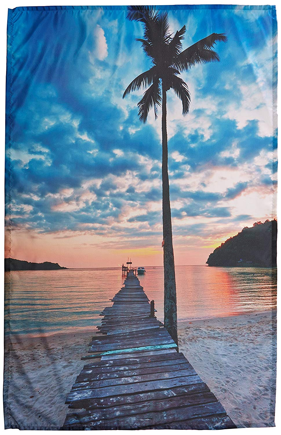 Palm Trees Tropical Island Ocean Wooden Bridge Dock Wall Decor Art Pictures Palms Sunset Sky Decor for Living Room Tapestry