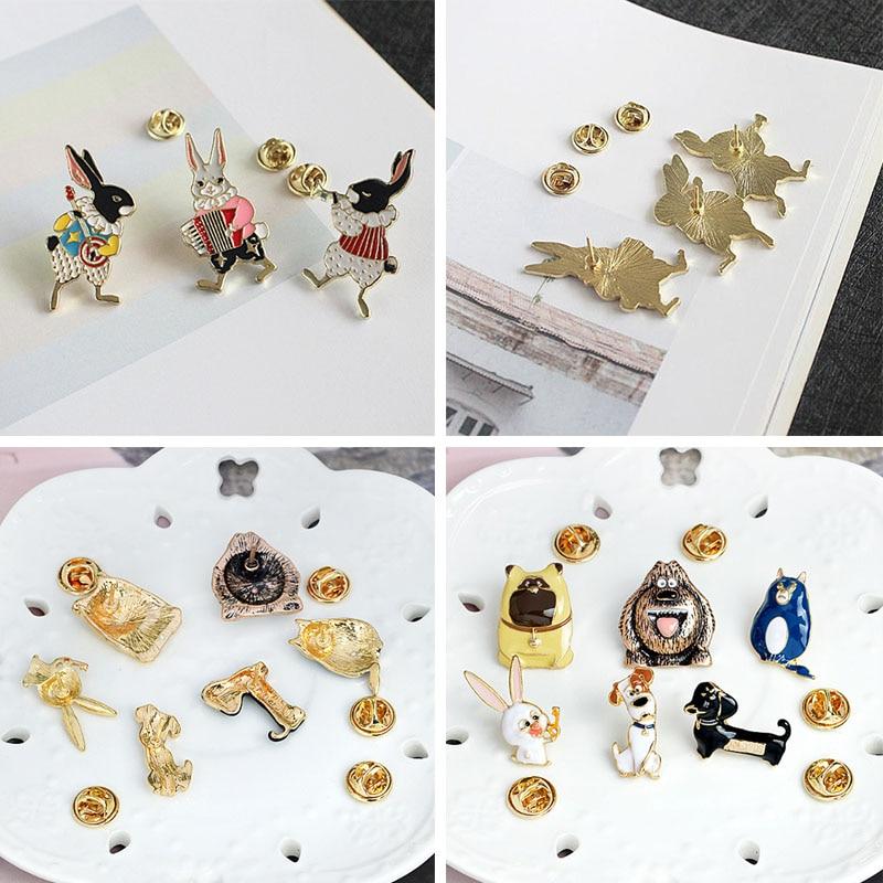 LNRRABC Cat Brooch Oil Drip Rabbit Dog Fashion Animal Button Pins Sweater Cratoon 1Pcs/Set Brooches