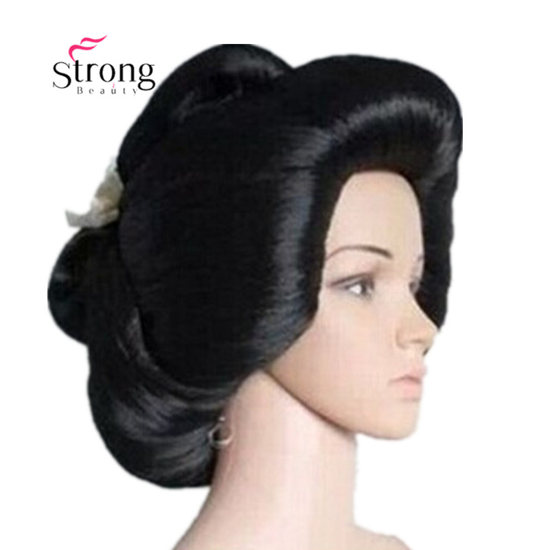 Black Japanese Geisha Flaxen Hair Synthetic Daily Cosplay Wig image