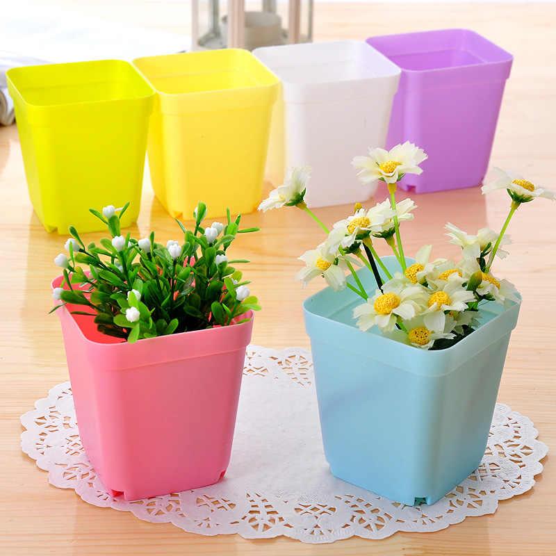 1 pcs 7*7*8 cm Pot Bunga warna acak dengan nampan pot, Pot Plastik, Kreatif Pot Persegi kecil untuk bunga tanaman hijau
