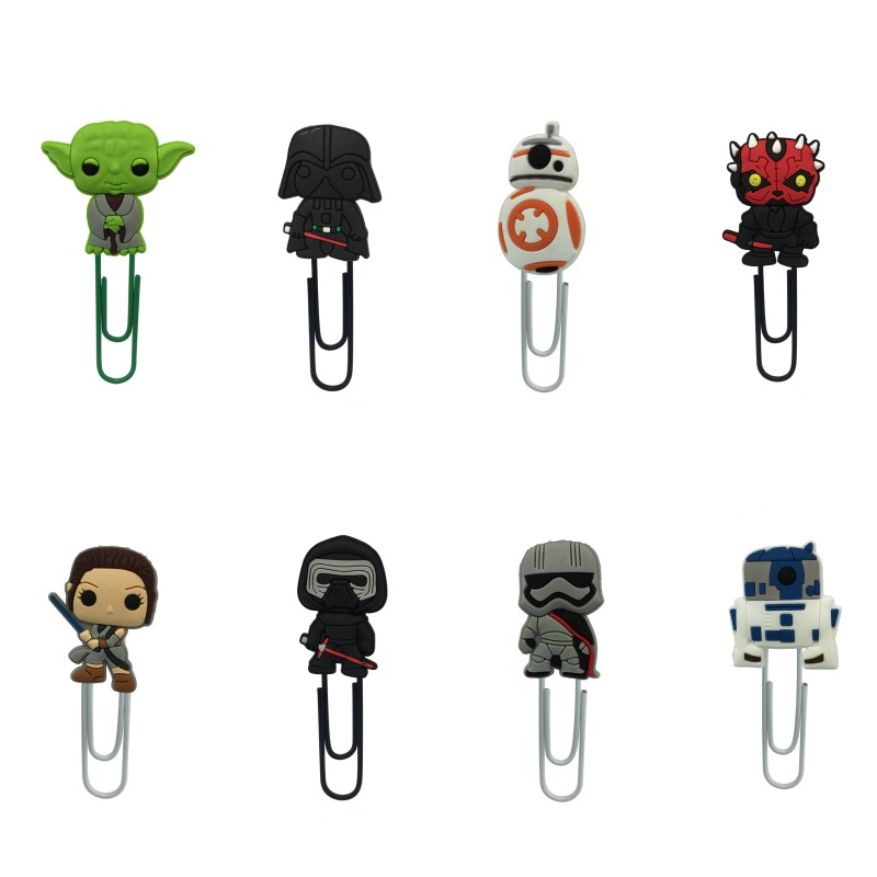 8pcs/Set Super Hero Cartoon Bookmarks PVC Charm Paper Clips For School Teacher Office Supplies Kids Stationery Birthday Gifts