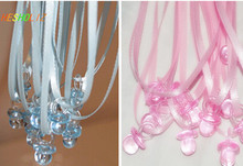 New 50pcs Clear Blue or Pink Plastic Mini Pacifier Necklaces for Boy Girl Baby Shower Game supplies/fav