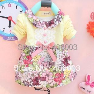 Envío Gratis Hot-venta de 2013 Vestido de encaje de manga Larga Camiseta de Los Niños Del Bebé Infantil de Las Muchachas Ropa Linda