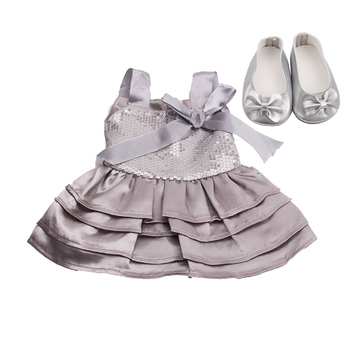18 inch Girls doll Dress princess print evening gown with shoes American new born clothes Baby toys fit 43 cm baby dolls c7 baby born doll clothes toys white polka dots dress fit 18 inches baby born 43 cm doll accessories gc18 36
