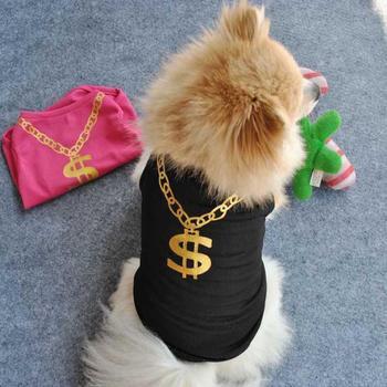 Cat Pet Vest Clothes For Dogs Pet Dog Summer Breathable T-shirt Vest Puppy Dollar Necklace Print Clothes Large