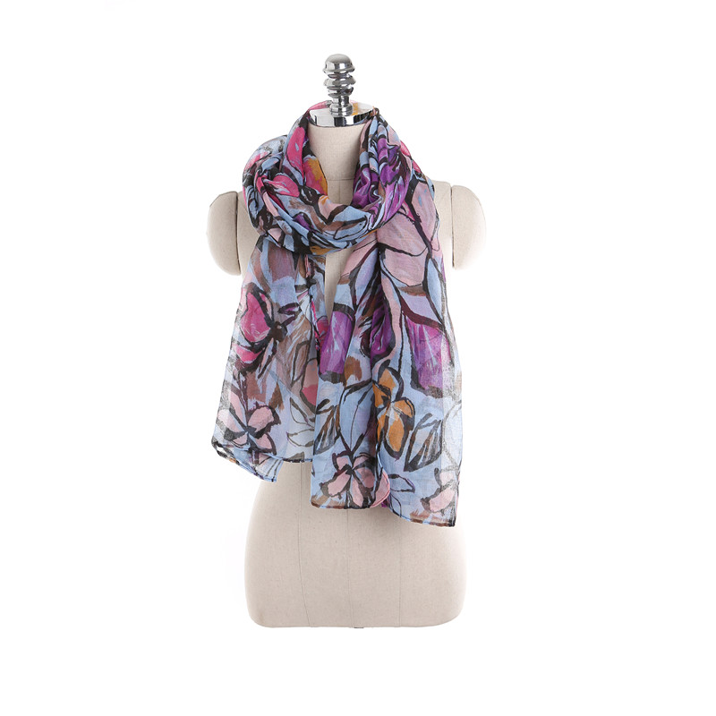 2018 Fashion Maple Leaves Pattern Women Scarf Oversize Silk Scarf Female Shawls Spring Summer Lady Wrap Multicolor Voile Scarves