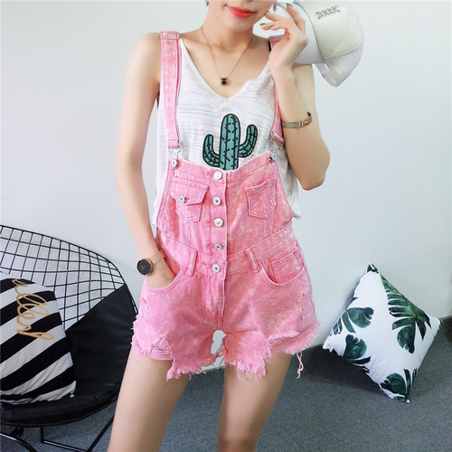 Nice Denim blue Overalls Shorts Fashion Hole Bottom Femme Jumpsuit Vogue Womens Rompers Jeans Playsuits Pink Casual Black rpqwazr