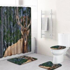 Image 3 - Hayvan geyik desen tasarımı 4 adet banyo perdesi su geçirmez kumaş duş perdesi halı seti tuvalet paspası banyo için
