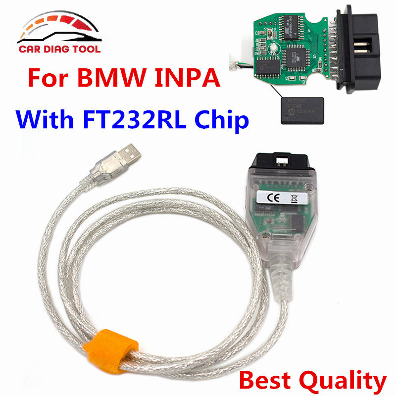 For BMW INPA K + DCAN USB OBD2 Cable For BMW INPA Ediabas K-Line With FT232RL Chip