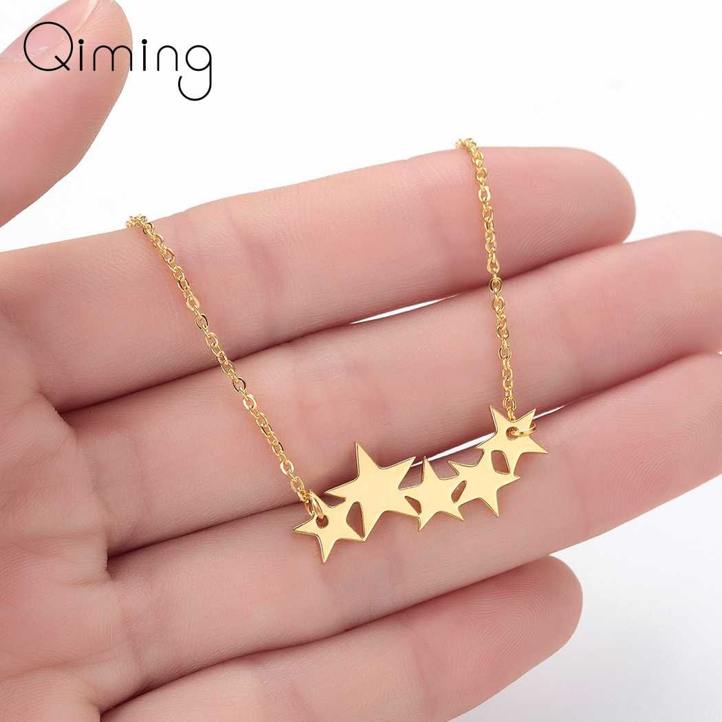 2019 Bohemia Star Necklace Women Baby Pentacle Pentagram Gold Silver Pendant Necklace Engagement Wessing Jewelry
