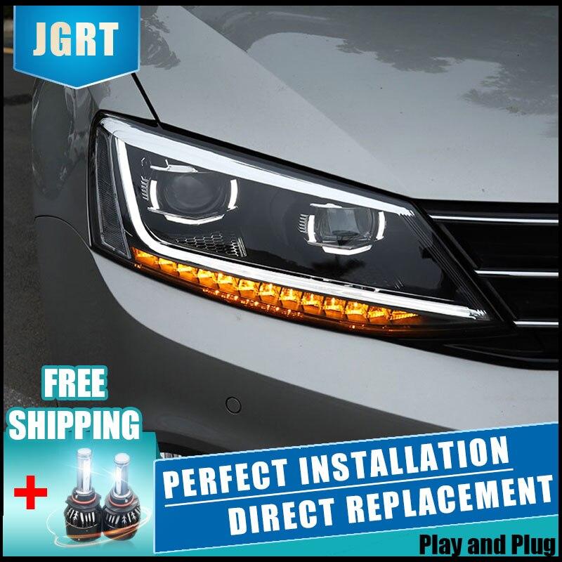 2 pièces LED Phares Pour Volkswagen jetta 11-18 Voiture LED Lumières Double Xénon Lentille Voiture Accessoires Feux Antibrouillard