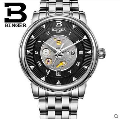 Geneva Binger multifunctional male watches Stainless Steel casual mens watch fully automatic mechanical wristwatch dom multifunctional mens watches luminous steel sheet timep waterproof sports casual male watch m510