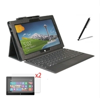 4in1 Luxury Magnetic Folio Stand Leather Case Cover 2x Screen Protector 1x Stylus For Microsoft Surface