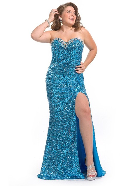 Sparkling Blue Sequins Mermaid Sweetheart Plus Size Prom Dresses