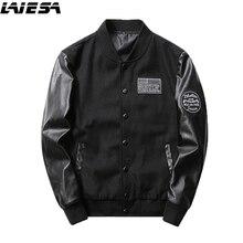 LIESA Men's Jacket Fashion Slim Fit Man Leather Patchwork Coat 2017 Autumn Winter Jackets Male Overcoat Parka Men Plus Size 4XL
