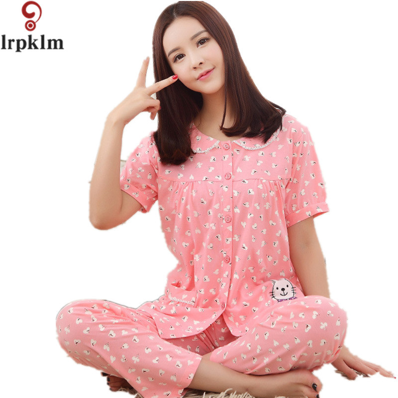 23a4d0493d5 Women Pajamas Set Summer Short Sleeve Pyjamas Cotton Sleepwear Women Night  Suit Tracksuit Home Clothing For Female M XXXL SY129-in Pajama Sets from .