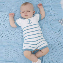 cotton knitted baby Sweater boy blue nav
