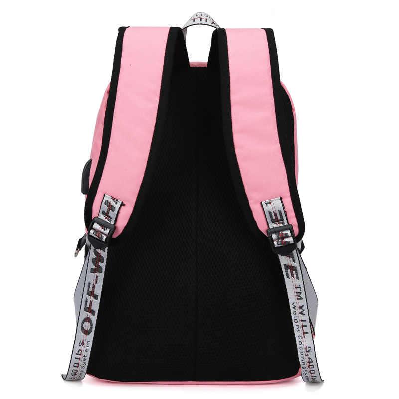 Брезентовые Usb школьные сумки для девочек подростков, рюкзак для женщин, сумки для книг, черные 2019, большая вместительность, средняя высота, школьный рюкзак для подростков