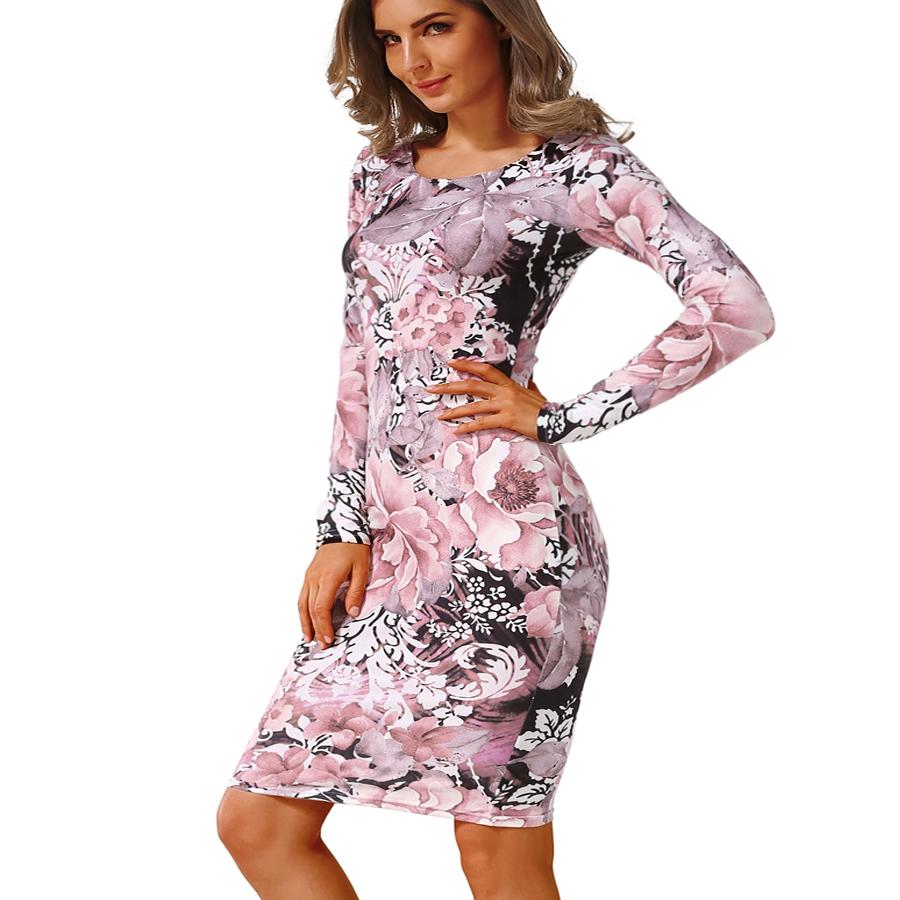 2017 Autumn Dress Pencil sheath Sexy Bodycon Dresses Female Package hip Robe Fashion Women's Sexy Club Round Neck Vintage Dress 5