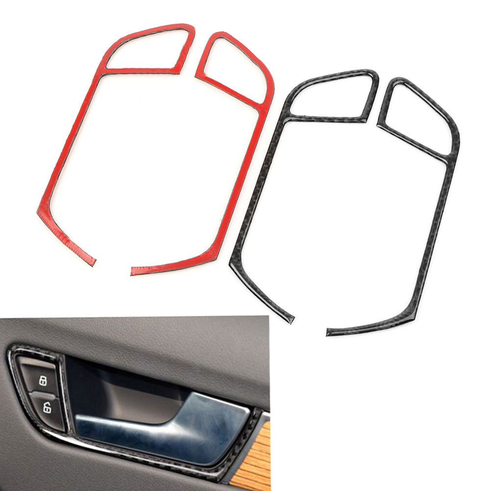 Carbon Fiber Look Door Handle Panel Frame Trim Cover Protector Decoration for <font><b>Audi</b></font> <font><b>A4</b></font> B8 2009 2010 2011 2012 <font><b>2013</b></font> 2014 2015 2016 image