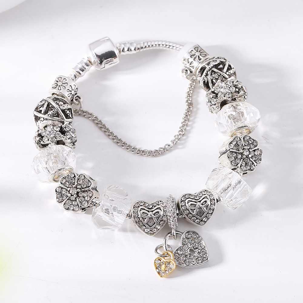 Armreifen 2019 Neue Marke Mode Silber Primrose Charme Armreif & Armband Für Frauen Original Diy Schwarz Blume Perlen Schmuck Geschenk Armbänder & Armreifen