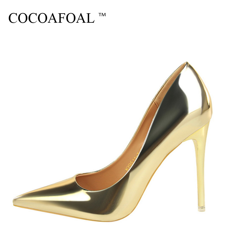 COCOAFOAL Woman Golden Ultra High Heels Shoes Fashion Sexy Silver Wedding High Heels Shoes Patent Leather Pointed Toe Pumps 2018 hee grand sweet patent leather women oxfords shoes for spring pointed toe platform low heels pumps brogue shoes woman xwd6447