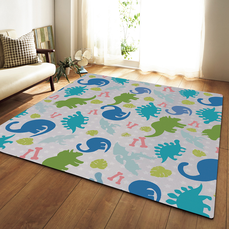 Zeegle Colorful Dinosaur Printed Large Size Home Decor Rugs Bedroom Carpet  Non Slip Sofa Bedside Area Rug Baby Crawling Mats Shaw Carpet Colors