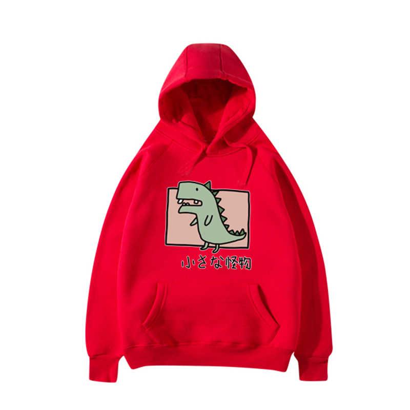 Heißer Trend Baumwolle schöne Frauen Hoodies Sweatshirts Wenig Dinosaurier Druck Jugend Mädchen Kühlen Beiläufige Hoodies Sweatshirts Ziemlich Herbst