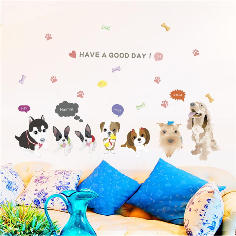 lovely dog family heart wall stickers for kids rooms home decorations cartoon animals wall decals diy poster pvc mural art