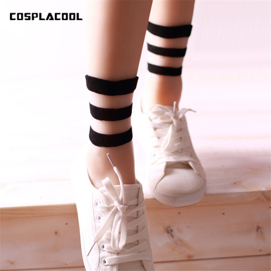 Summer Women's Ultrathin Transparent   Socks   meias Japan Harajuku Striped Crystal   Socks   Japan Glass Silk   Sock   Calcetines Mujer