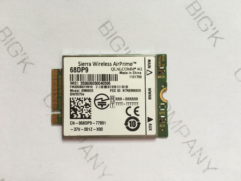 JINYUSHI For Free shipping  68DP9 WWAN 3G Card For Dell Venue 8 and 11 Pro# EM8805 WWAN - HSPA+ NGFF DW5570 dw5810e telit ln930 twh3n ngff m 2 4g lte dc hspa wwan wireless network card for venue 11 dell laptop