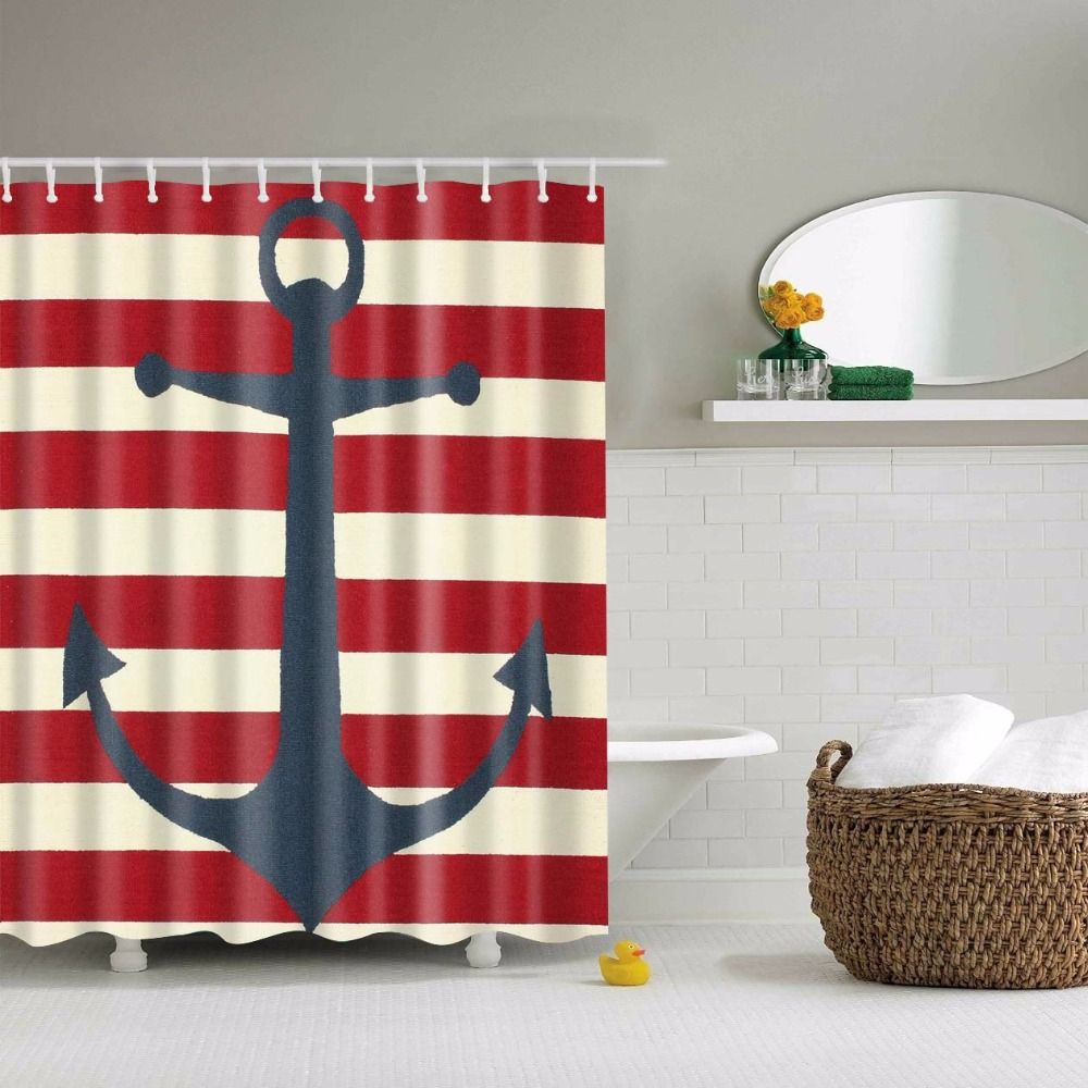BeddingOutlet Anchor On Red Striped Background Shower Curtain Sailing  Themed Bathroom Decor With Hooks Waterproof 71