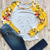 Autumn Women O-Neck T-Shirt Floral Printed Splicing Long Raglan Sleeves Hipster Girls Top Tee 2017 Fashion Casual Ladies Tops