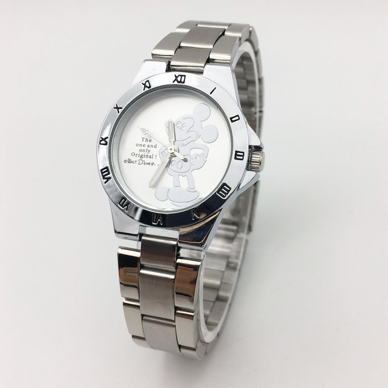 Mickey Mouse Women Fashion Silver Stainless Steel Band Analog Quartz Round Wrist Watch Watches Wristwatch Clock Gift 2019 (2)