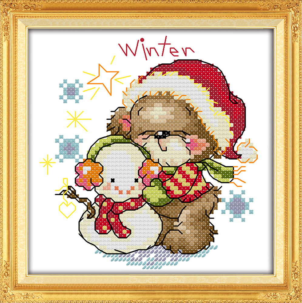 The four seasons little bear winter counted printed on fabric 14CT 11CT Cross Stitch kits embroidery
