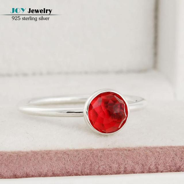 925 Sterling Silver Red January Droplet Birthstone Rings For Women Floral Facets Garnet Stone Finger Ring Party Birthday Gift