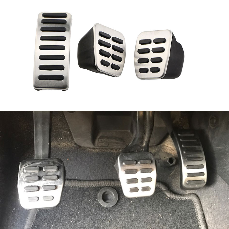 1 Set Stainless Steel Car Gas Brake Pedals for VW Polo 6N 1996-1999 6N2 2000-2002 for 9N / 9N3 2002-2009 for VW Polo 6R 2009 -