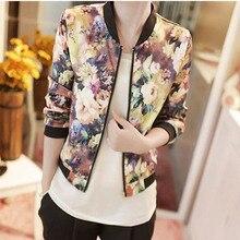 Chaquetas бомбардировщик принт весенние clothing цветочный vintage mujer куртки короткие топы